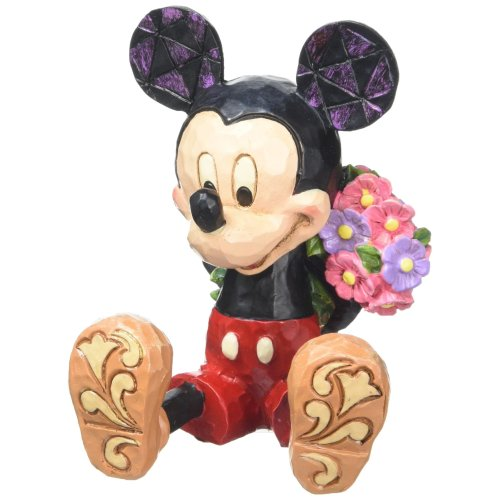 Disney Traditions Mickey with Flowers Mini, Stone, Multi-Colour, 5 x 5.5 x 7 cm