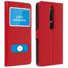 Double window flip standing case for Nokia 6.1 with TPU shell - Red