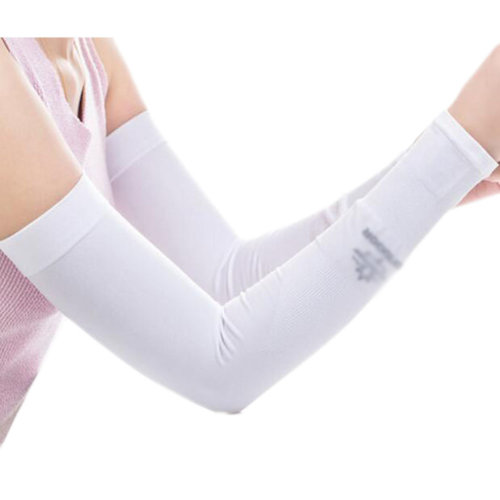 Unisex Outdoor Sunscreen Clothing Arm Skin Care Breathable Cycling Sun Protective Sleeves- White
