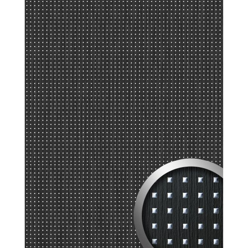 WallFace 12549 3D QUAD Wall panel square hole wood look black silver | 2.60 sqm