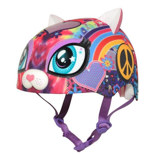 Razkullz Peace Love Kitty Kids Girls Scooter Skateboard Bike Helmet 50 to 54cm