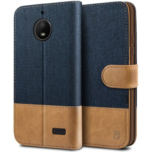 finest selection 638de 2358d Moto E4 Case, BEZ Flip Case for Motorola Moto E4, Wallet Case Cover [Canvas  Faux Leather] with Credit Card Holders, Kick Stand, Magnetic Strap...