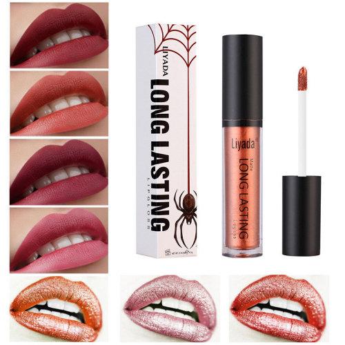 LIYADA Waterproof Matte Metallic Lip Gloss Cosmetics Liquid Lipstick Long-lasting Lips