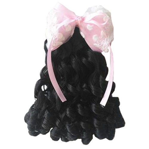 Children Girls Long Curly Wigs Hair Extensions Hair Clip Kids Wig Hairpiece, B