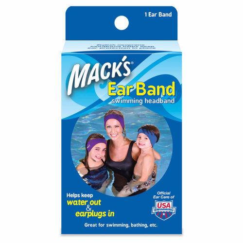Mack's macks Ear Band Swimming Headband helps keep water out and earplugs in