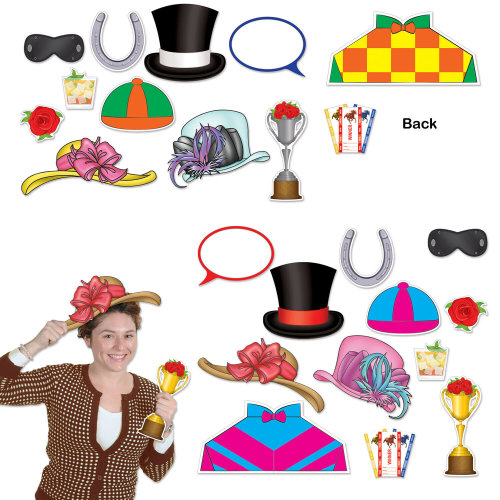 12 Piece Horse Racing Photo Fun Signs Photo Prop Party Decoration