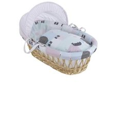 Clair de Lune Stanley & Pip Natural Wicker Moses Basket inc. bedding, mattress & adjustable hood (Neutral Mint Green/Lavender)