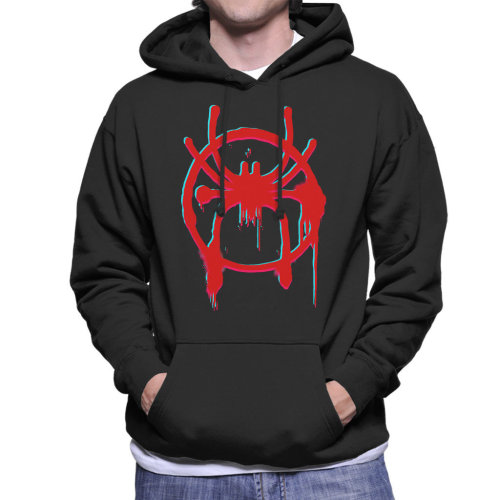 Distorted Spider Man Into The Spiderverse Spray Paint Men's Hooded Sweatshirt