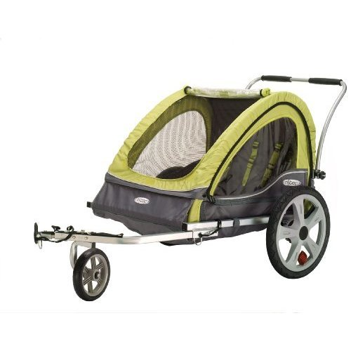 Instep Sierra Double Child Carrier Bicycle Trailer, 2-Passenger, Green/Gray