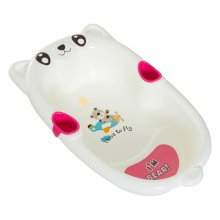 Homcom White & Pink Baby Bath | Non-Slip Baby Tub