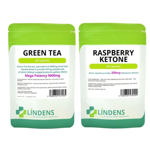 60 Raspberry Ketone & 60 Green Tea Extract 9000mg Diet Weight Loss Slimming Pack