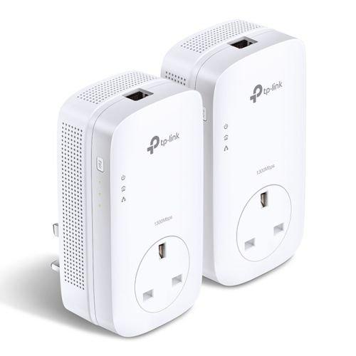 TP-LINK (TL-PA8010P KIT V2) AV1300 GB Powerline Adapter Kit, AC Pass Through