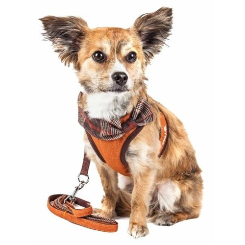 Pet Life HA27TNXS Luxe Pawsh 2-in-1 Mesh Reversed Adjustable Dog Harness-Leash with Fashion Bowtie, Tangerine - Extra Small