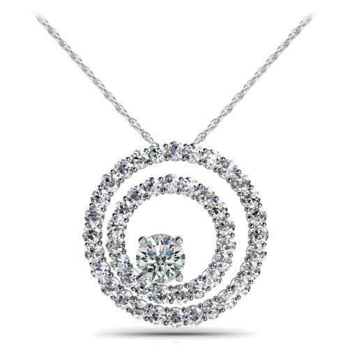 Circle Pendant Necklace 6 Carats Gorgeous Diamonds White Gold 14K New