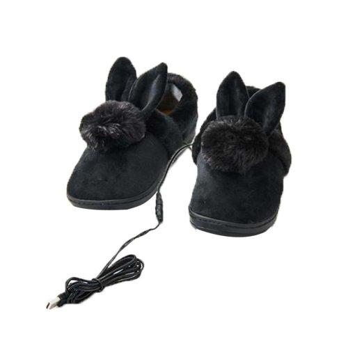 [Black Rabbit] Heating Shoes Warm USB Electric Heated Slipper usb Foot Warmer for Winter 24cm