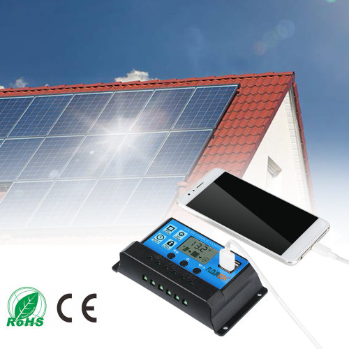 FLOUREON LCD Solar Panel Battery Charge Controller Dual USB 20A 12/24V