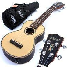 Malani Electro Acoustic Soprano Ukulele - Solid Spruce Top Uke  Gig Bag  Aquila