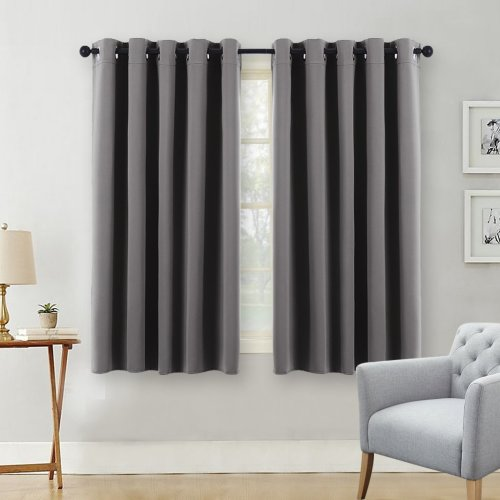 PONY DANCE Gray Kitchen Curtains - Ring Top Thermal Blackout Curtain Drapes Windows Draperies Panels Set/Home Decoration & Fashion, 1 Pair, W 66 by...