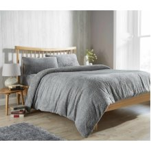 New Teddy Fleece Quilt / Duvet Cover with Pillow case (Double - Grey)