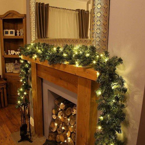 Pre-Lit Warm White LED Garland | LED Garland & Timer