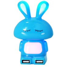 Creative USB Hub Computer Interface Hub Cartoon Hub Transverter Blue