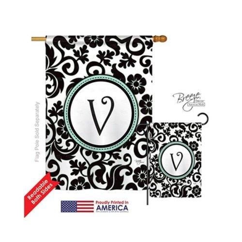 Breeze Decor 30074 Damask V Monogram 2-Sided Vertical Impression House Flag - 28 x 40 in.