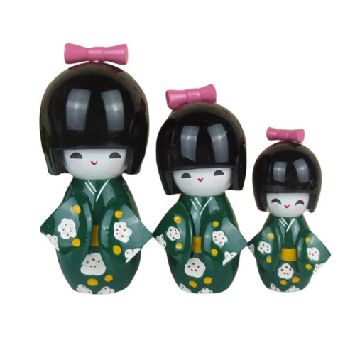 3 Pcs Lovely Japanese Kimono Girl Wooden Dolls With Plum Flower,Green