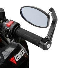 "Universal Motorbike Bar End Rear View Mirrors 7/8"" Pair Motorcycle Bike Cycle"