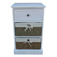 Two Drawer White Bedside Cabinet with Seagrass Baskets