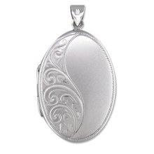 Sterling Silver Half Embossed Oval Locket On A Snake Necklace