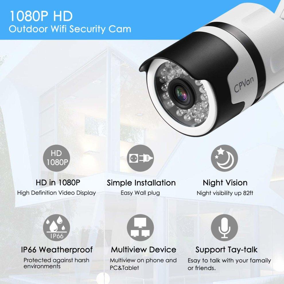 Super Updated Version] CPVAN 1080P Outdoor Security Camera, IP66 GE93