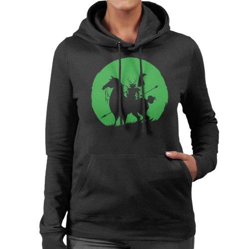 Shadow Warrior Green Silhouette Samurai Jack Women's Hooded Sweatshirt