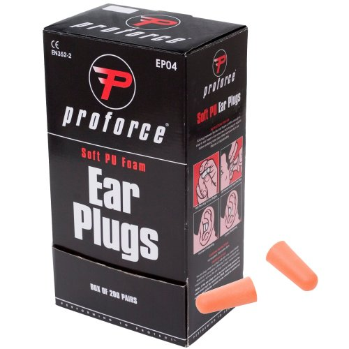 Proforce EP04 Soft Foam Ear Plugs SNR 37dB Earplugs Defenders Box of 200 Pairs