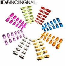 DANCINGNAIL 1 Pcs Metallic False Nails Art Tips French Short Paragraph 6 Sizes