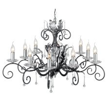 Black/Silver 10lt Chandelier - 10 x 60W E14 by Happy Homewares