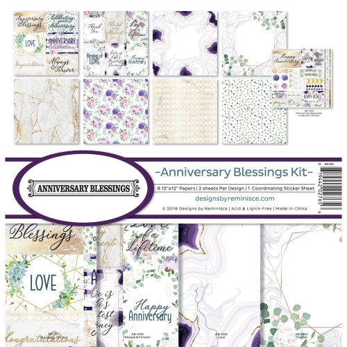 """Reminisce Collection Kit 12""""X12""""-Anniversary Blessing"""