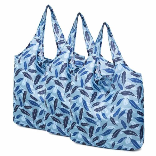 Blue Feather - 3 Pieces Reusable Grocery Bags Foldable Boutique Shopping Bags Portable Merchandise Tote Bags Gift Bags