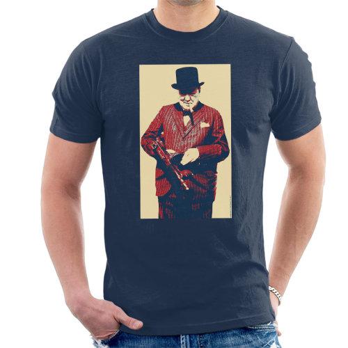 Winston Churchill British Prime Minister Thompson Machine Gun Cigar Second World War Men's T-Shirt