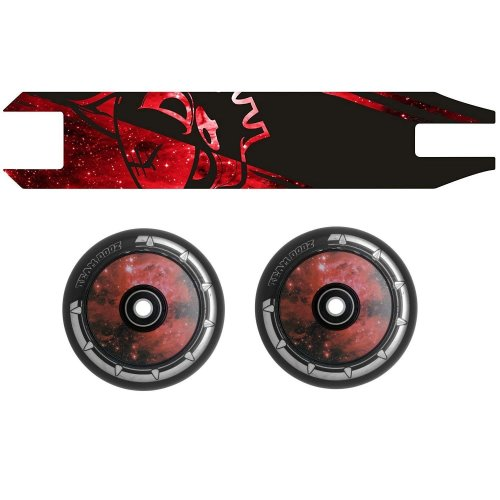 Combo Pair Team Dogz Red Galaxy Scooter Wheels 100mm Hollow Core + Grip Tape