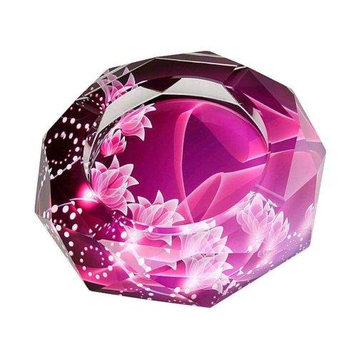 [Flower-1] Rhombus Shape Crystal Cigarette Ashtray Ash Tray Tabletop Decoration