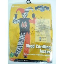 Large Boy's Blood Curdling Jester Costume -  jester costume blood fancy dress zombie clown halloween boys curdling scary evil