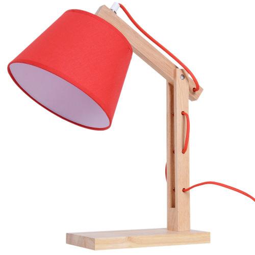 HOMCOM Bedside Table Lamp DresserSolid Oak Wood Holder Soft Light Glow E14 Base Bedroom Living Room Red