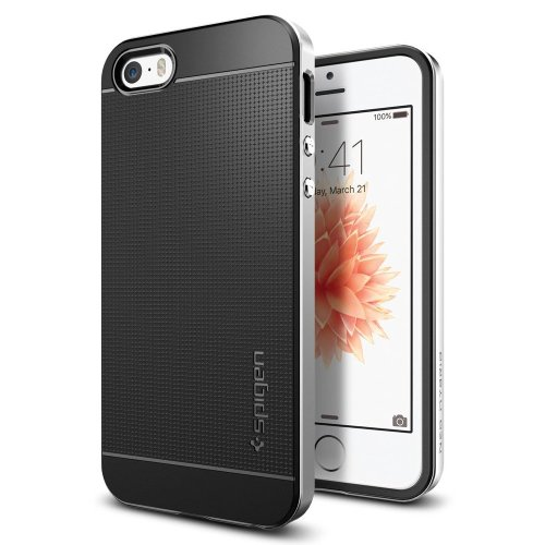 premium selection 086bd b6cf7 Spigen Neo Hybrid iPhone SE/5S/5 Case with Flexible Inner Protection and  Reinforced Hard Bumper Frame for iPhone SE/5S/5 - Satin Silver