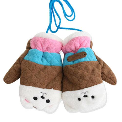 1 Pair Kids' Winter Gloves Warm Mittens Windproof Glove(2-6 Years) Brown