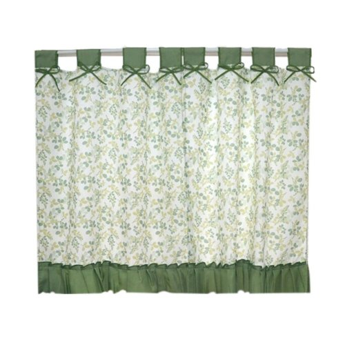 Set of 2 Pastorable Green Leaf Bowknot Window Valance Window Curtains 130x100cm