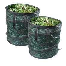 GLOW Set of 2 Pop Up Garden Waste Bags with Carry Handles – Large Reusable Premium Heavy Duty Double Stitched 80L Collapsible Folding Lightweight Outdoor Home and Garden Collection Bin Sack for Refuse Rubbish Leaves Soil Grass Weeds Cuttings Plants F