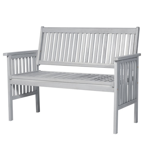 Outsunny  2 Seater Garden Bench Acacia Wood Outdoor Patio Park Seat Armrest Chair High Back Loveseat Conservatory