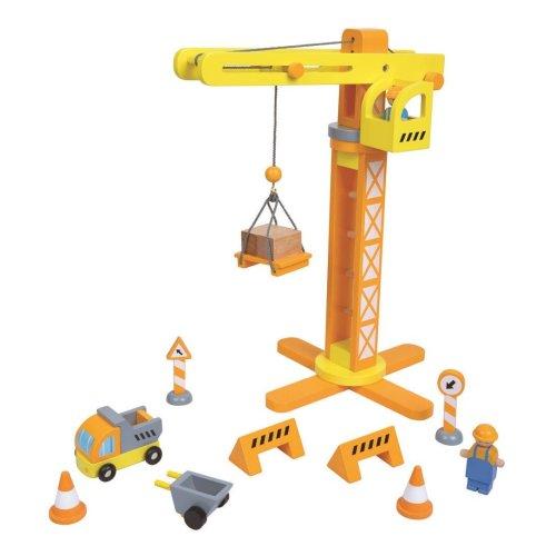 Lelin Wooden Crane & Construction Set Childrens Creative Pretend Role Play Set