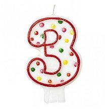 Polka Dot Birthday Candle Number 3 - 7.5cm -