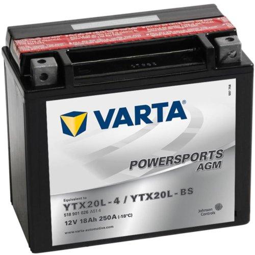 Varta Motorcycle Powersports AGM Battery YTX20L-4 / YTX20L-BS